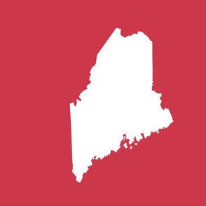 "Maine silhouette - 18"" white on red"