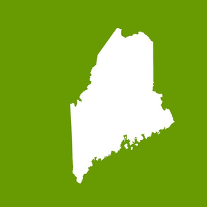 "Maine silhouette - 18"" white on leaf green"