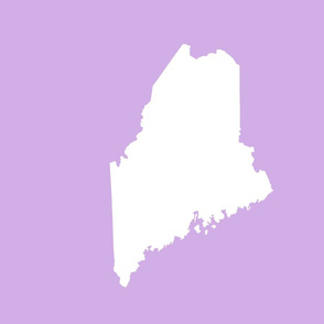 """Maine silhouette - 18"""" white on lilac"""