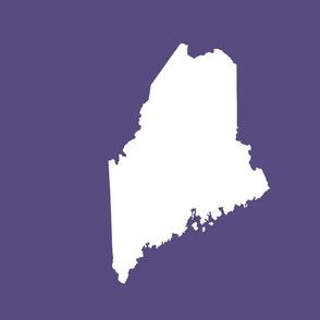"Maine silhouette - 18"" white on soft purple"