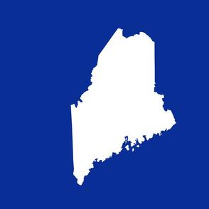 "Maine silhouette - 18"" white on cobalt blue"