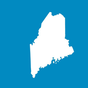 "Maine silhouette - 18"" white on bright blue"