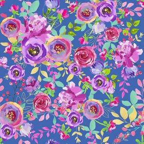 Blue Watercolor Spring Floral Summer Floral