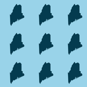 "Maine silhouette - 6"" navy on light blue"