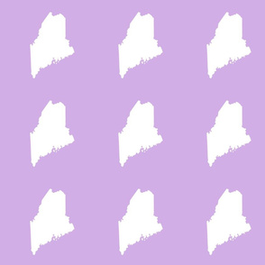 """Maine silhouette - 6"""" white on lilac"""