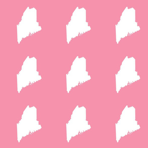 """Maine silhouette - 6"""" white on pink"""