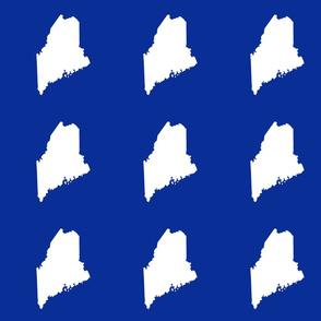 "Maine silhouette - 6"" white on cobalt blue"