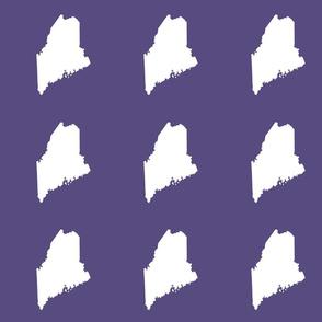 "Maine silhouette - 6"" white on soft purple"