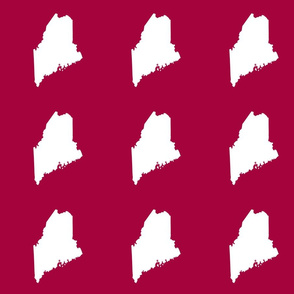 """Maine silhouette - 6"""" white on cranberry red"""
