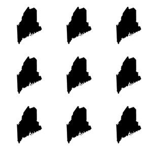 "Maine silhouette - 6"" black on white"