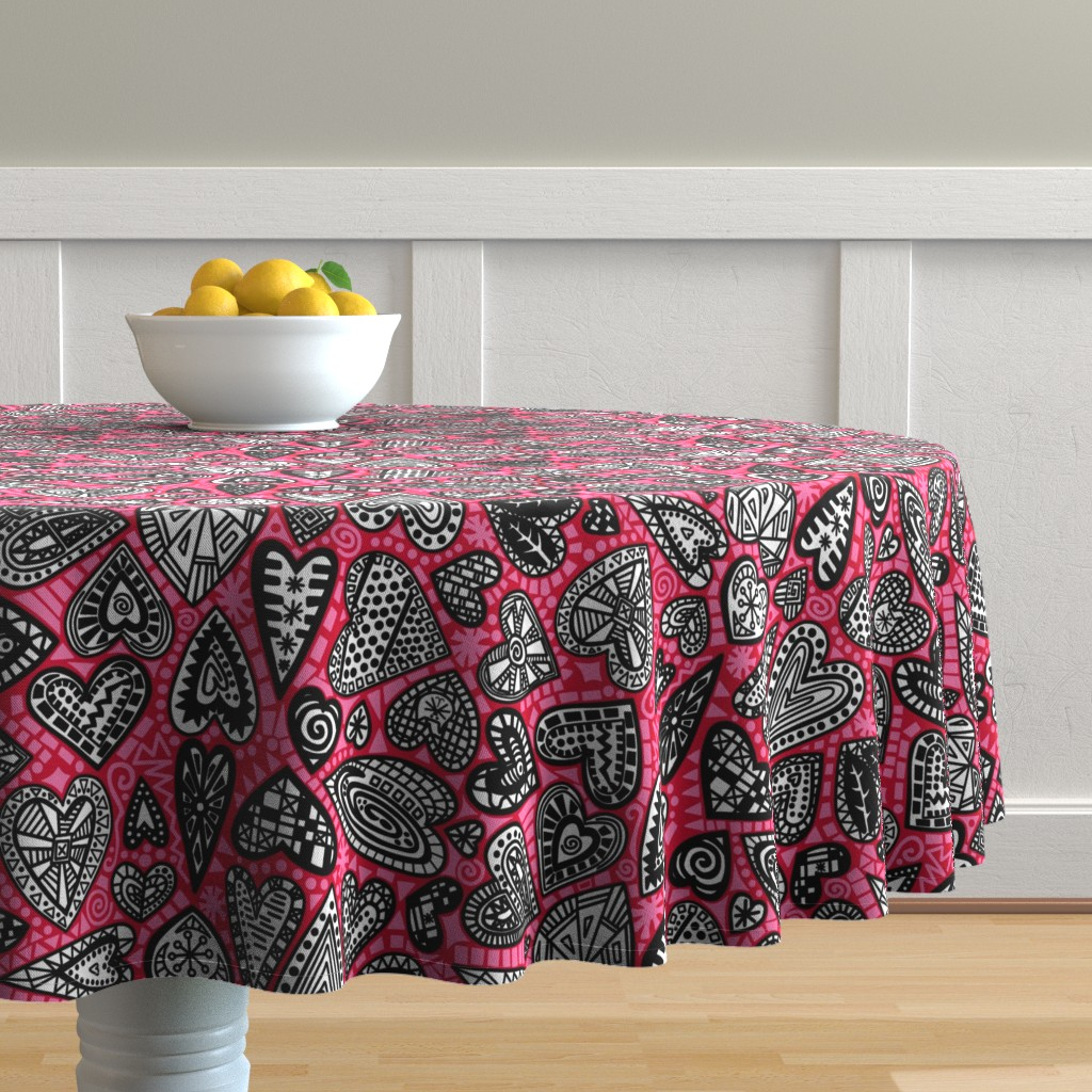 Malay Round Tablecloth featuring hearts by lalalamonique by lalalamonique