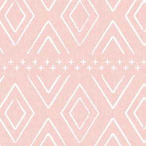 Safari Wholecloth Diamonds on Pink - farmhouse diamonds - mud cloth fabric