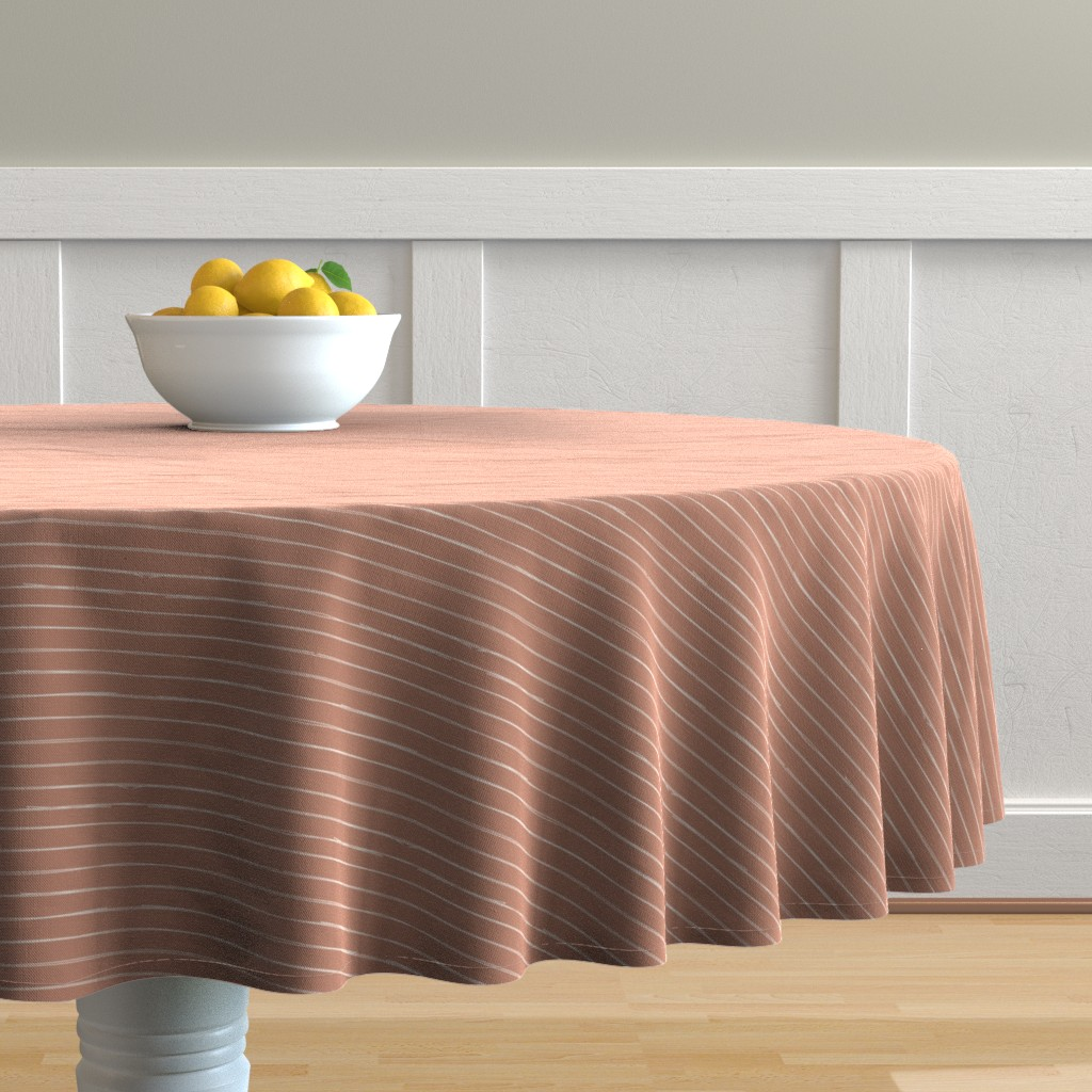 Malay Round Tablecloth featuring Bone Stripes on Sienna by erin__kendal