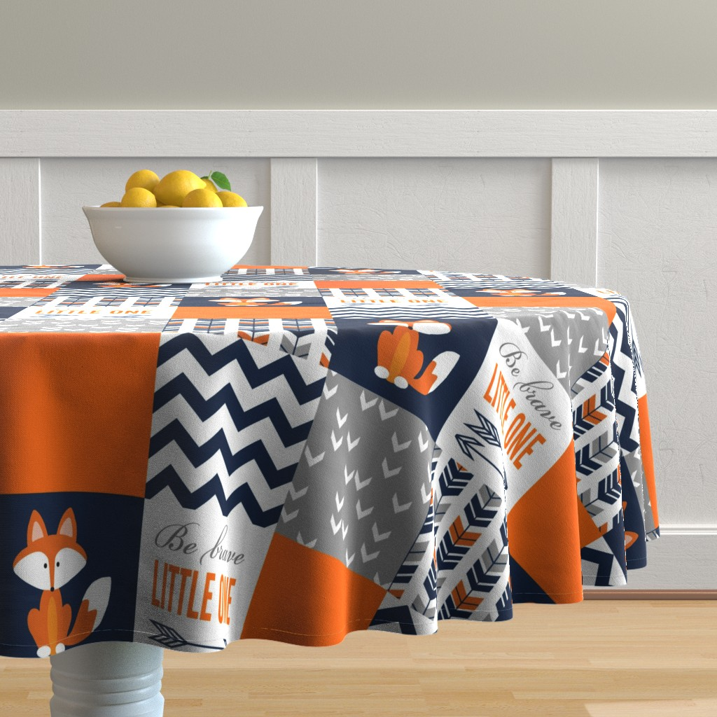 Malay Round Tablecloth featuring Patchwork Fox Design by sewluvin
