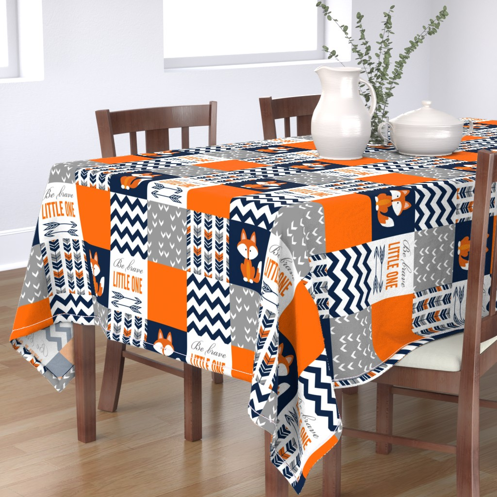 Bantam Rectangular Tablecloth featuring Patchwork Fox Design by sewluvin