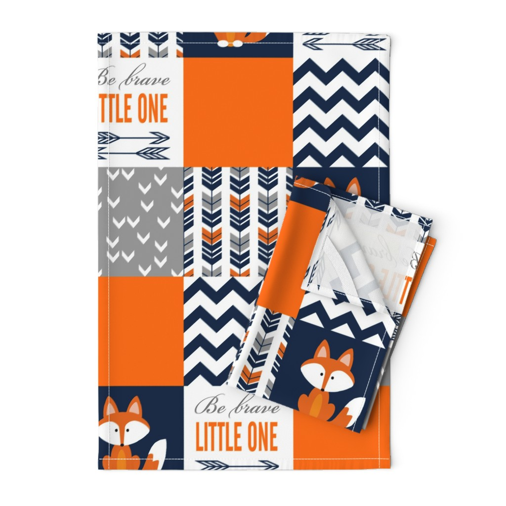 Orpington Tea Towels featuring Patchwork Fox Design by sewluvin