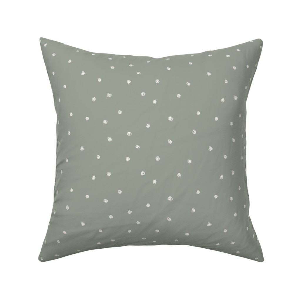 Catalan Throw Pillow featuring Freehand Squiggles_Bone dots on Sage Green by erin__kendal
