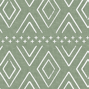 Safari Wholecloth Diamonds on Sage  - farmhouse diamonds - mud cloth fabric