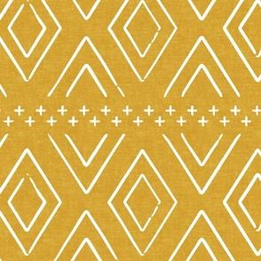 Safari Wholecloth Diamonds on mustard - farmhouse diamonds - mud cloth fabric