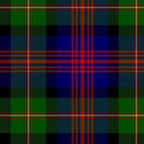 "Logan or MacLennan tartan, traditional 5-stripe, 6"" dark"