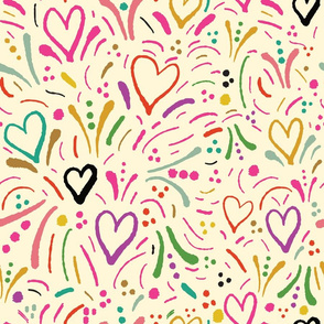 Painted Hearts - Pink Black Blue Green