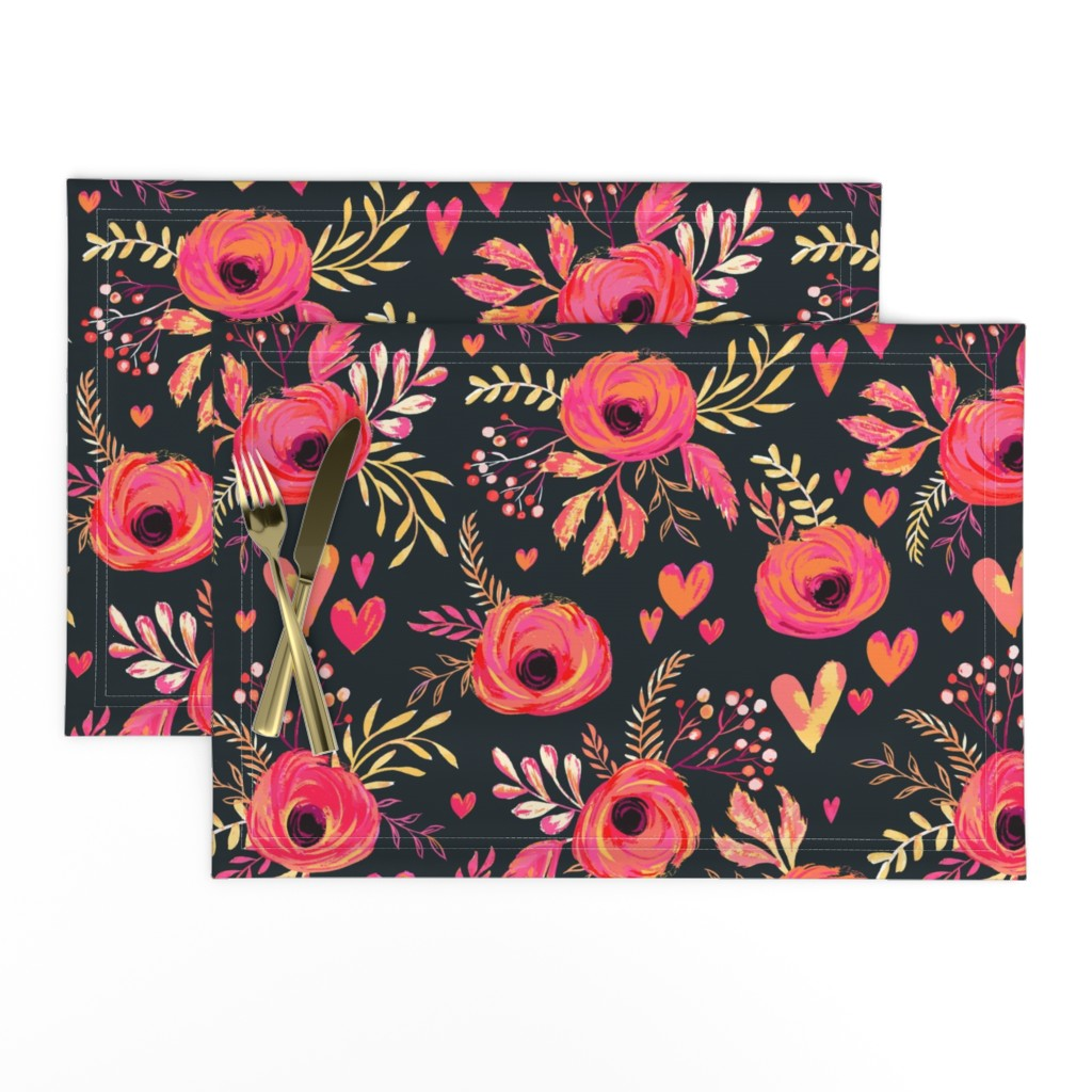 Lamona Cloth Placemats featuring Valentine Flowers by jill_o_connor