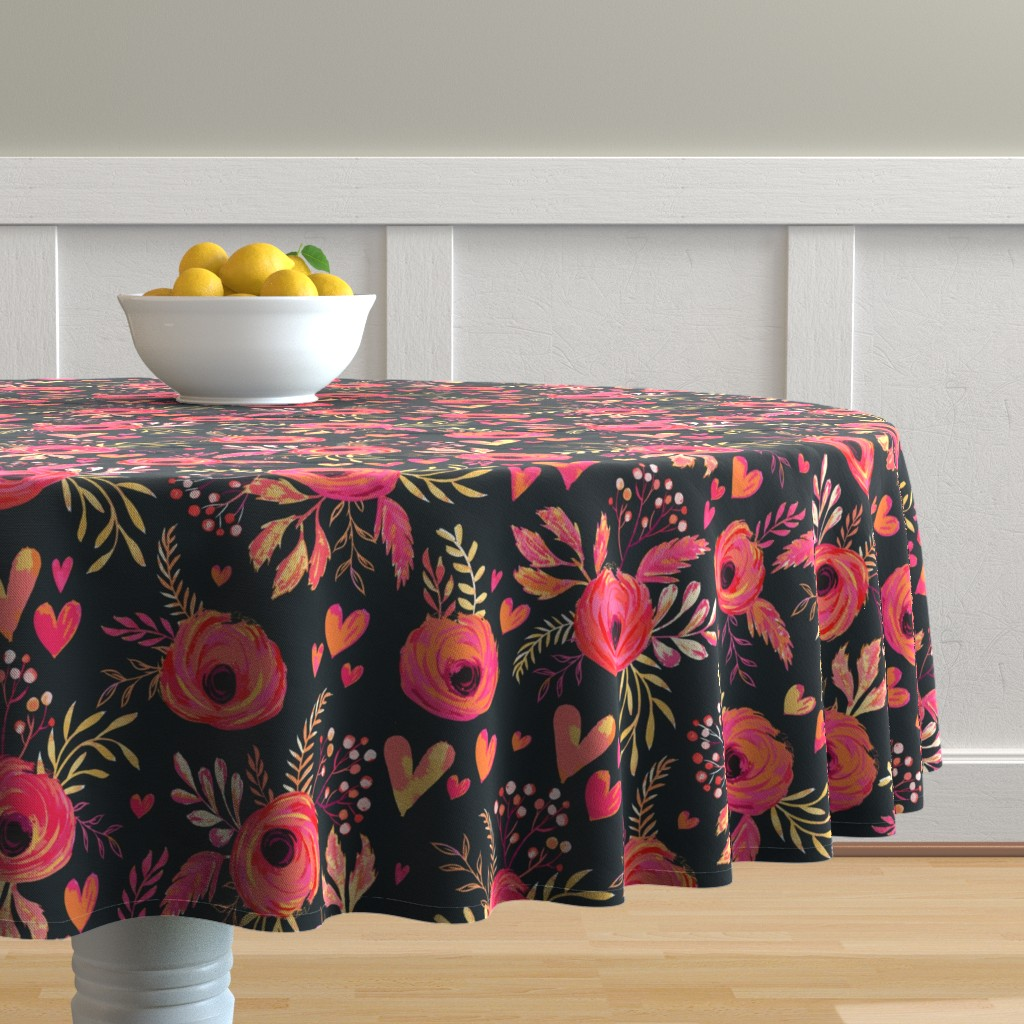Malay Round Tablecloth featuring Valentine Flowers by jill_o_connor