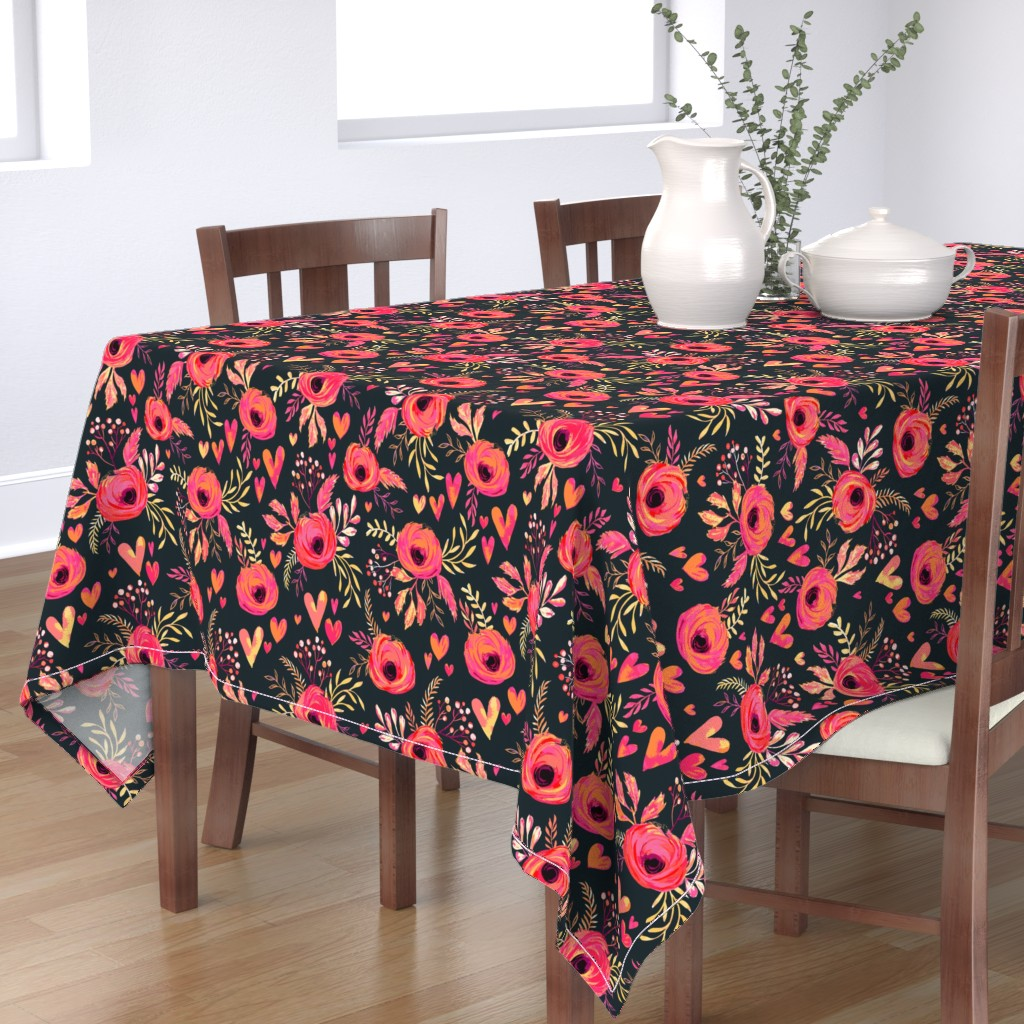 Bantam Rectangular Tablecloth featuring Valentine Flowers by jill_o_connor