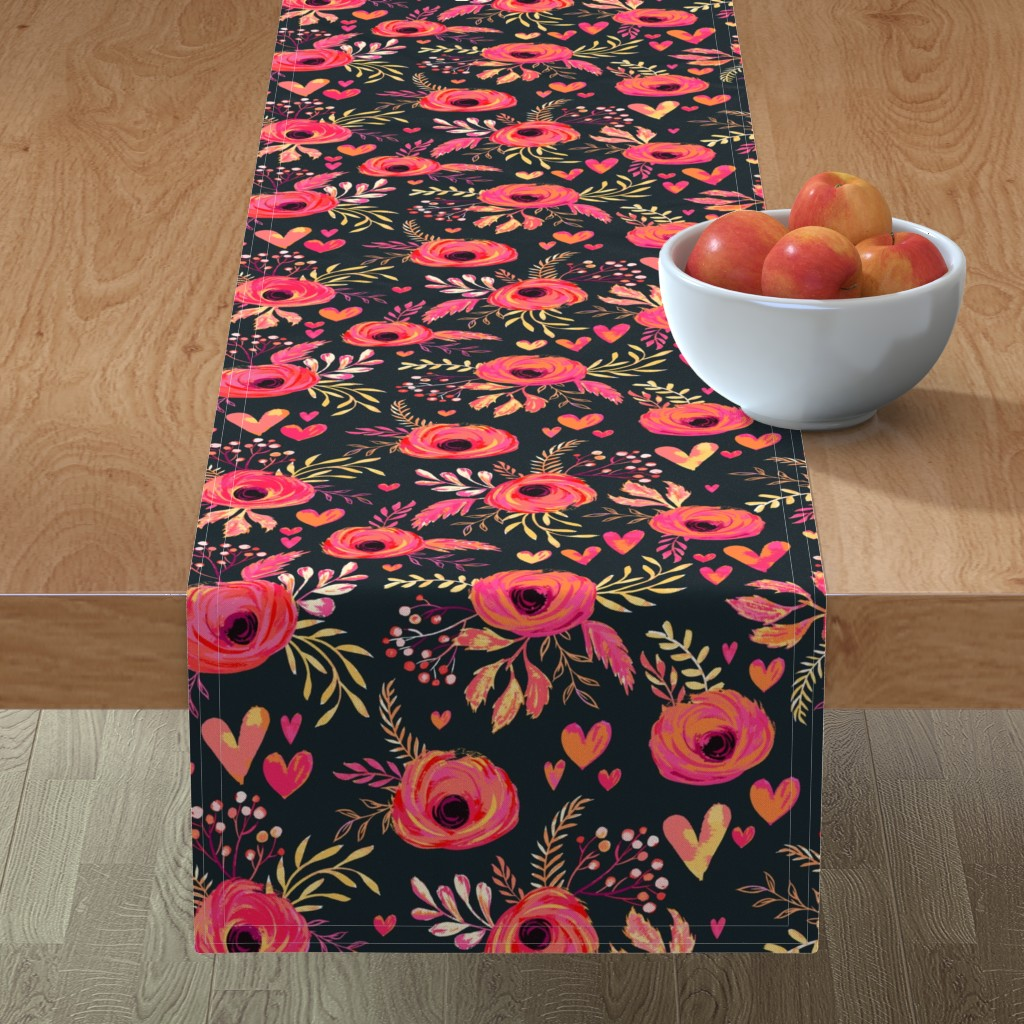 Minorca Table Runner featuring Valentine Flowers by jill_o_connor
