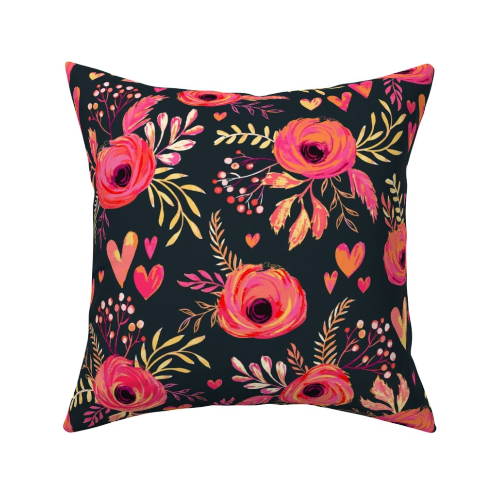 Catalan Throw Pillow featuring Valentine Flowers by jill_o_connor