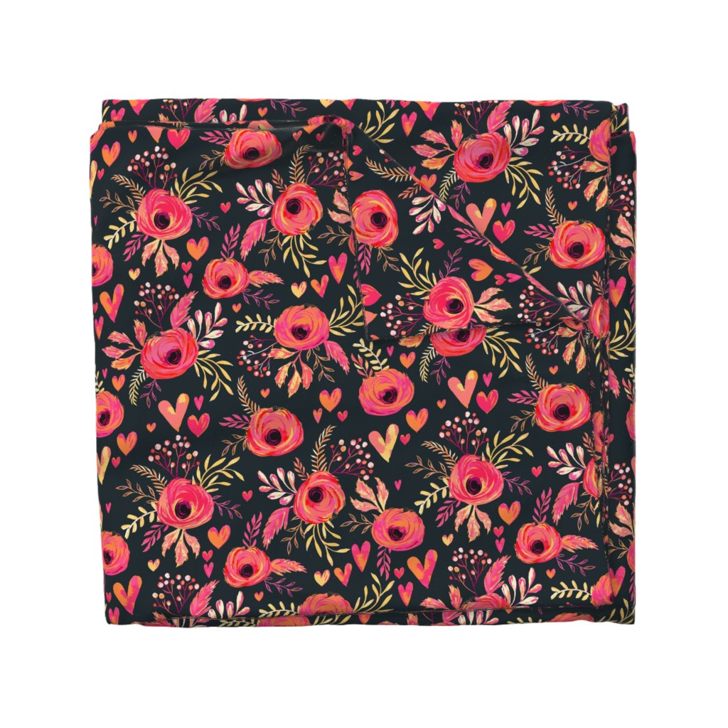 Wyandotte Duvet Cover featuring Valentine Flowers by jill_o_connor