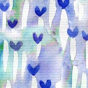watercolour hearts blue large scale