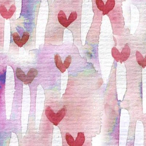 watercolor hearts large scale