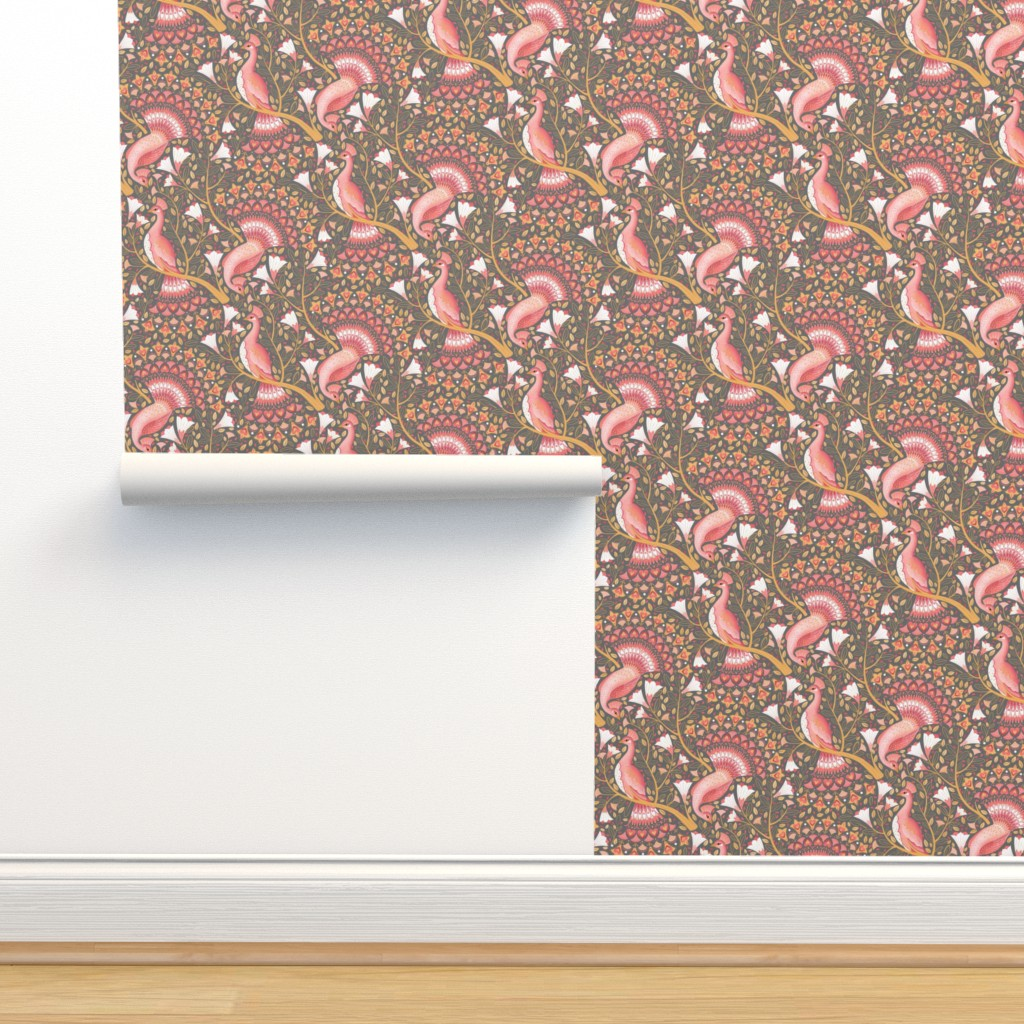 Isobar Durable Wallpaper featuring valentine peacocks. by michaelzindell