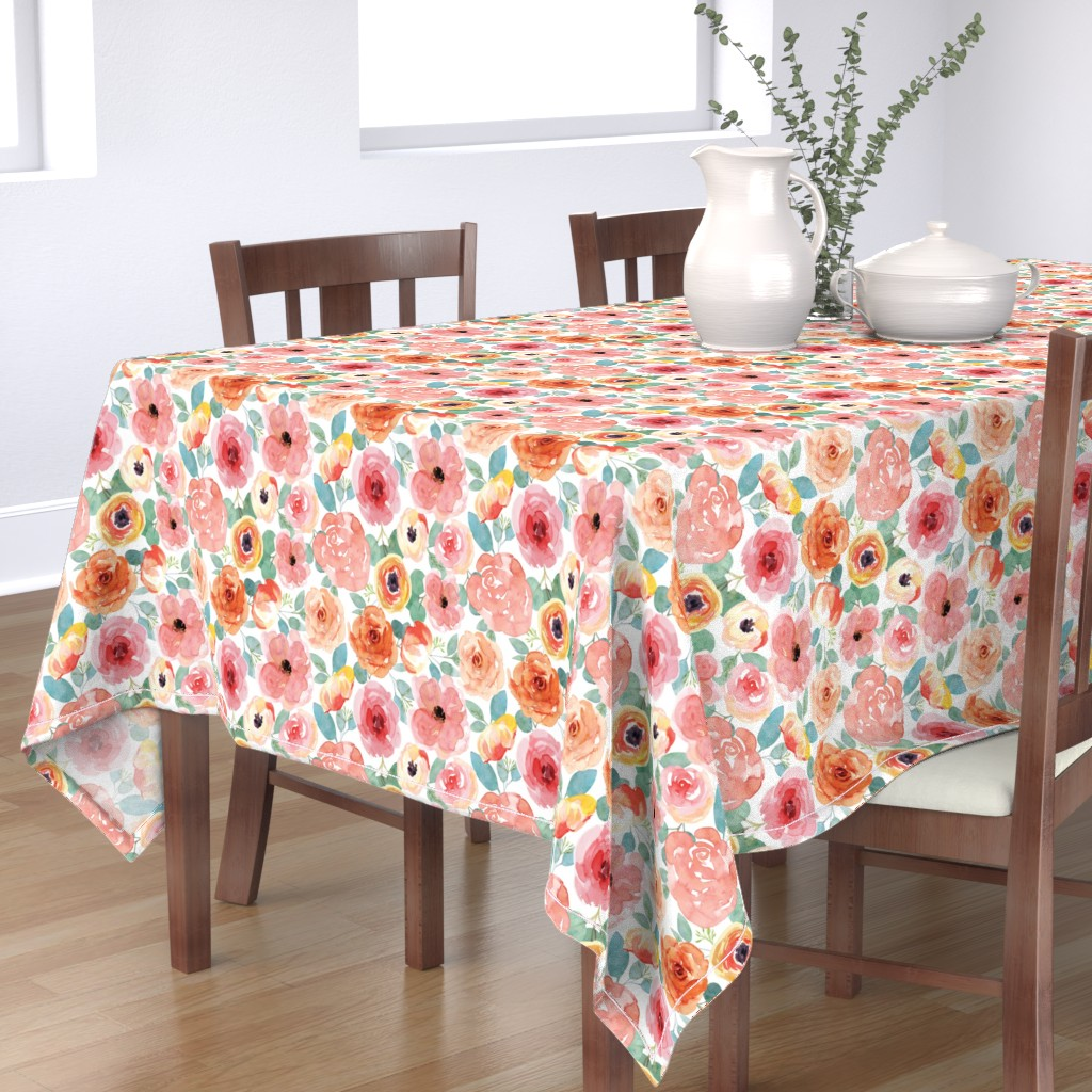 Bantam Rectangular Tablecloth featuring Small Peachy Pink Watercolor Floral by taylor_bates_creative