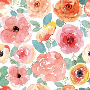 Small Peachy Pink Watercolor Floral