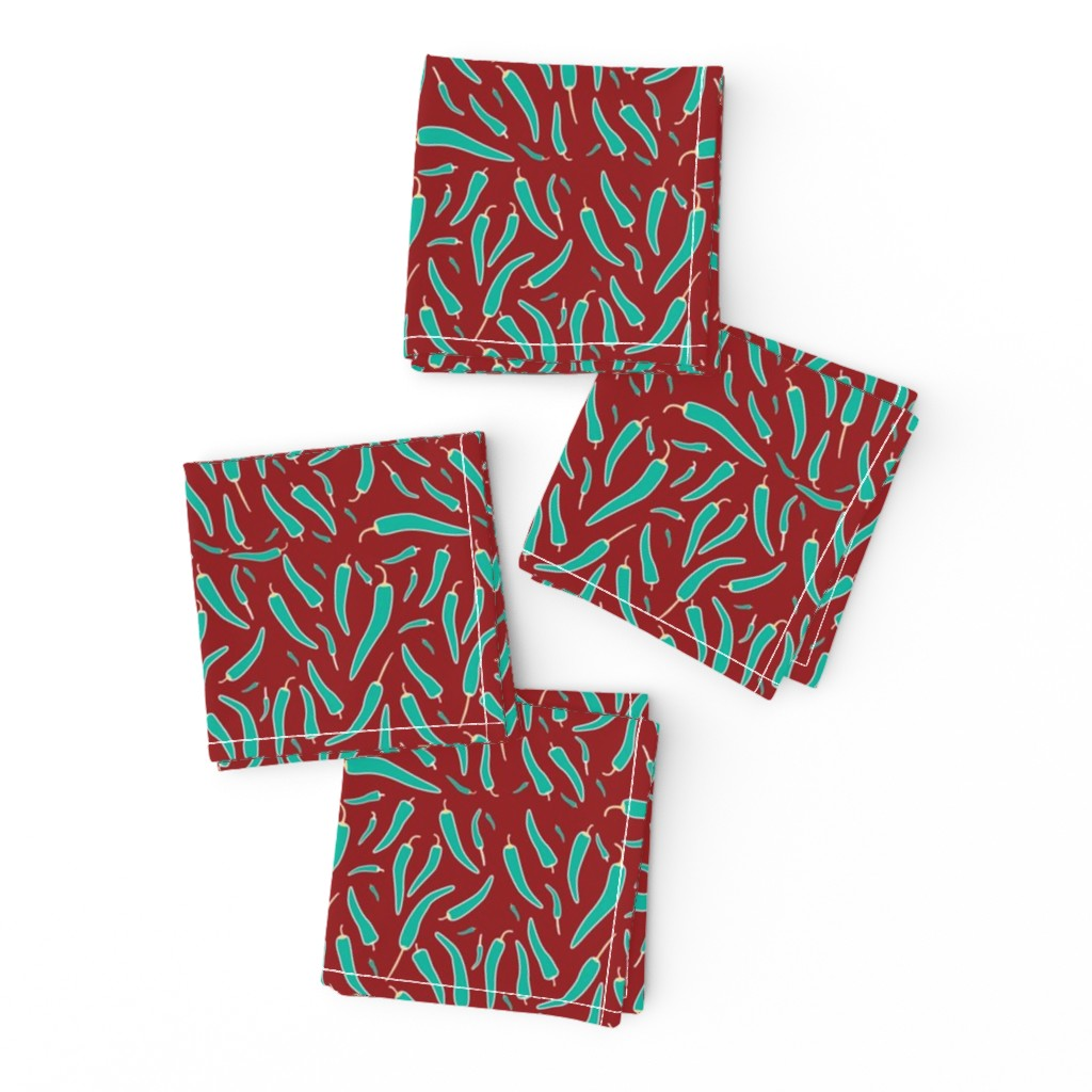 Frizzle Cocktail Napkins featuring Chilli on acid - teal on red by kenza-graphics