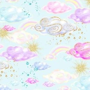 clouds light blue gold glitter accents