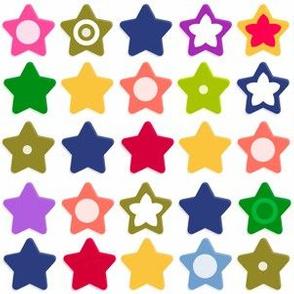 Multi-colored cartoon abstract fun stars