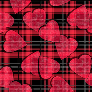 Red hearts seamless plaid checkered pattern