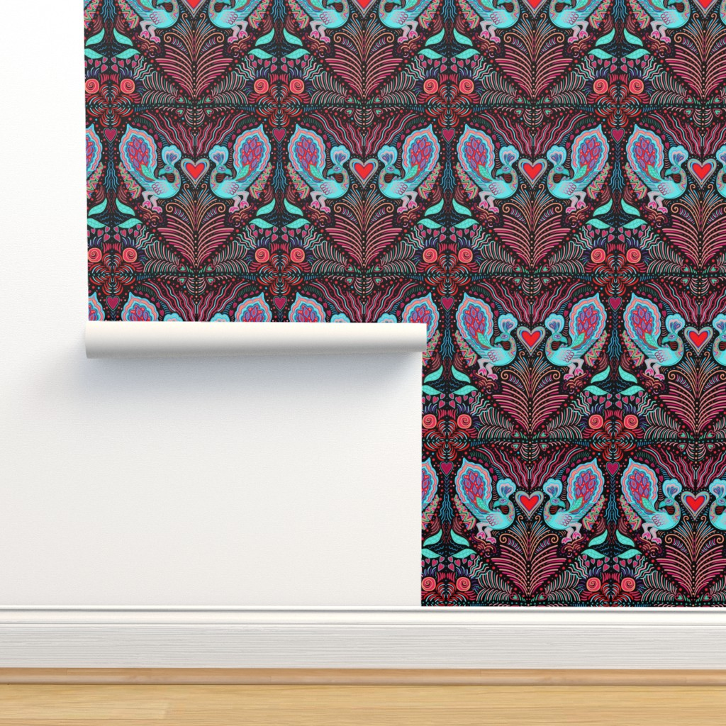 Isobar Durable Wallpaper featuring peacock valentine on black by designed_by_debby