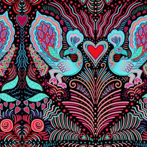 peacock valentine on black