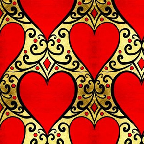 gilded love red hearts