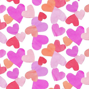 Fabric Cut out Hearts in orange pinks