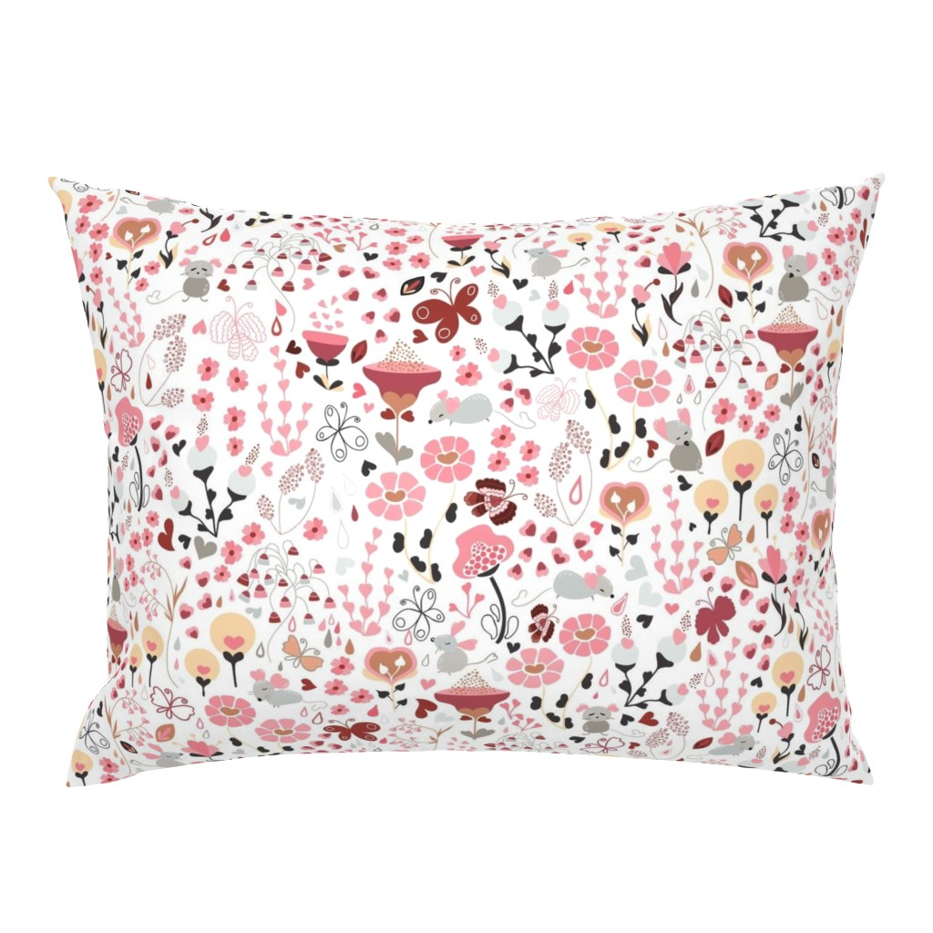 Campine Pillow Sham featuring Say it with Flowers.... and mice and butterflies lol! by paula_ohreen_designs