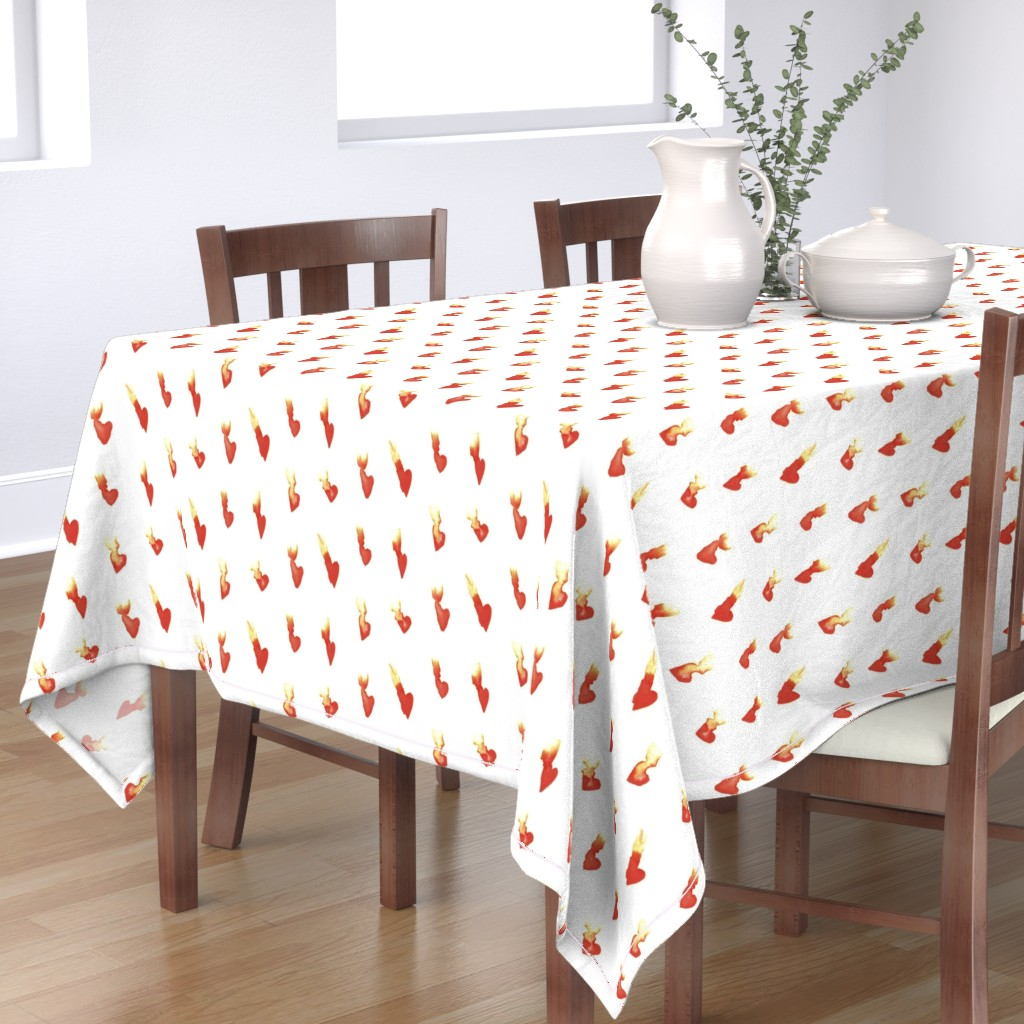 Bantam Rectangular Tablecloth featuring Hearts on Fire by autumn_musick