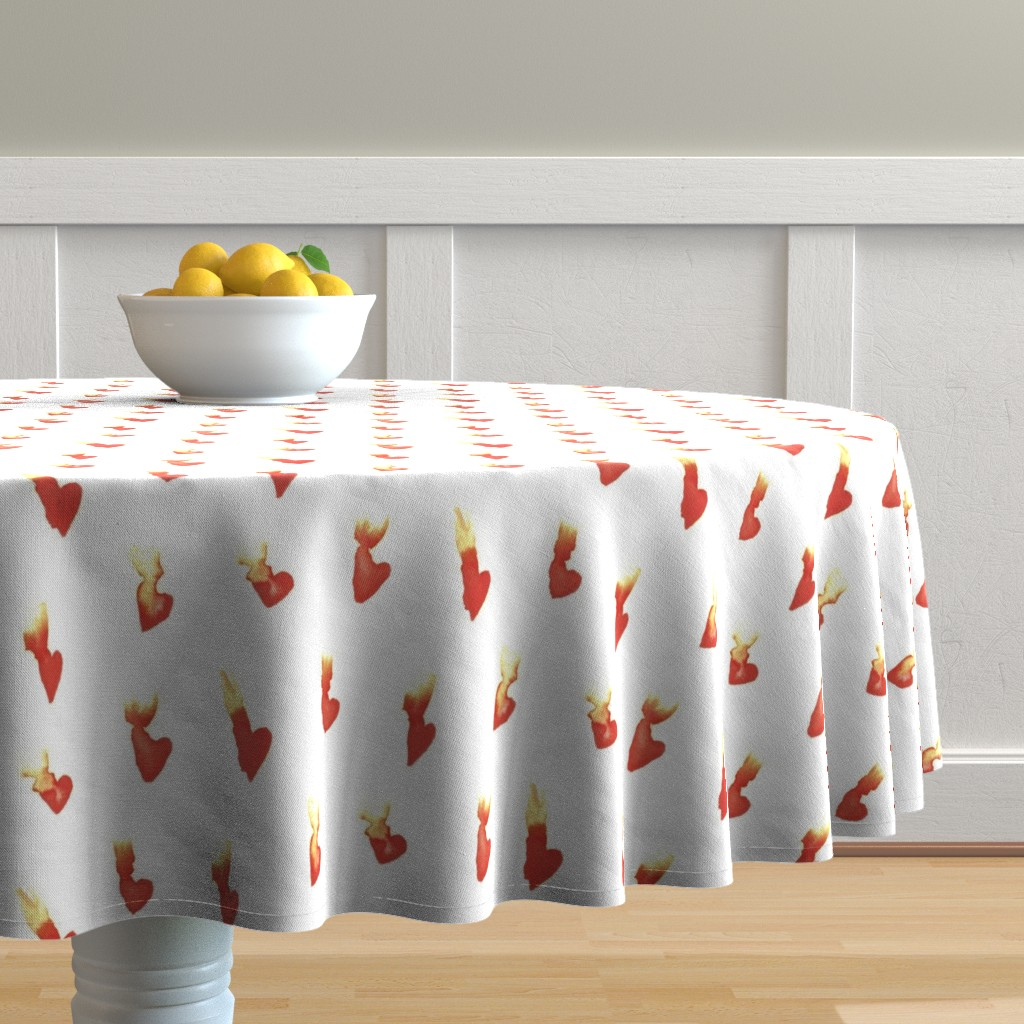 Malay Round Tablecloth featuring Hearts on Fire by autumn_musick