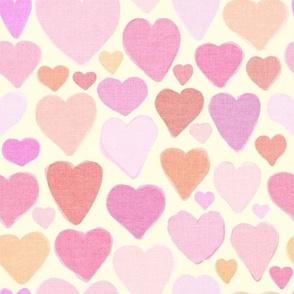 Valentine hearts on cream