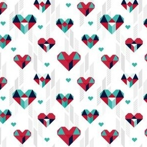 Geometric Heart Day Red Teal