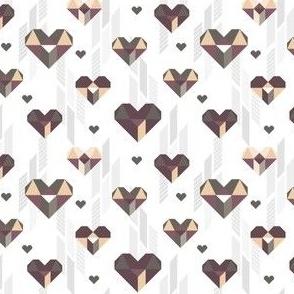 Geometric Heart Day Purple Gray